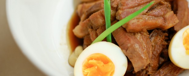 "Kakuni is a Japanese braised pork dish meaning ""square s"